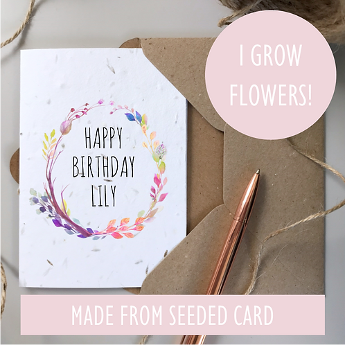 Personalised Boho Happy Birthday Card - Seeded Card