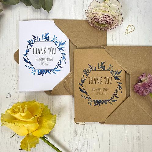 Blue Foliage Personalised Wedding Thank you Cards (x10)