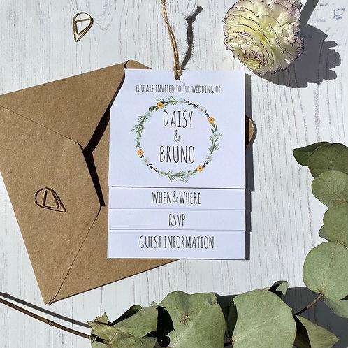 Daisy Wildflower Tiered Wedding Invites -White