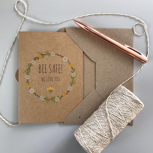Bee Safe Daisy Card - Kraft