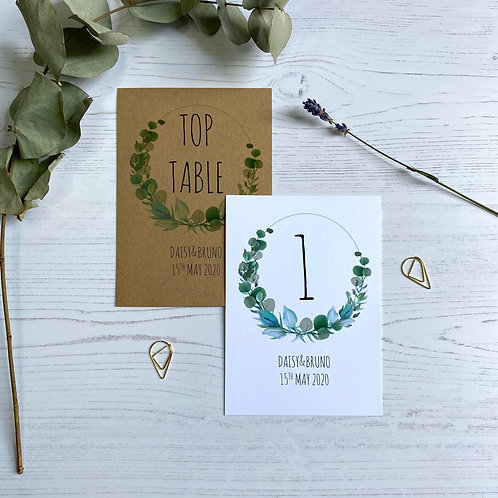 Eucalyptus Table Number Sign