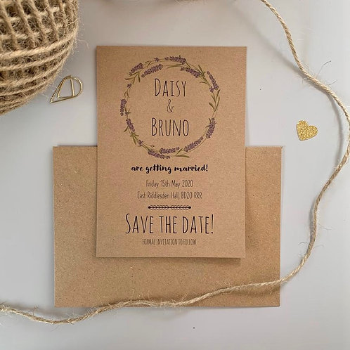 Lavender Save The Date Cards - Kraft (x10)