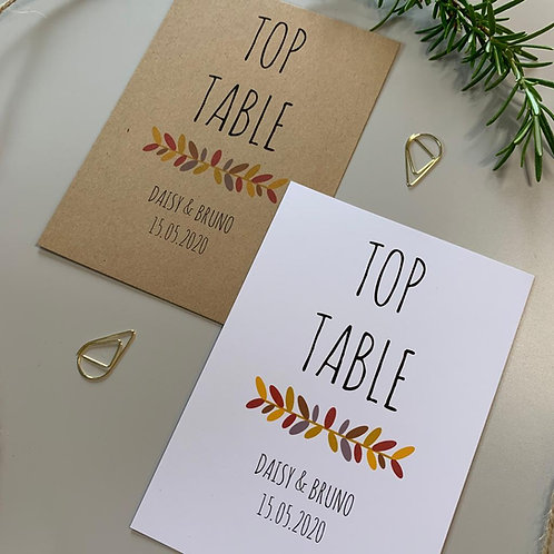Autumn Table Number Sign