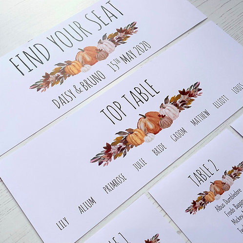 Pumpkin Individual Table Plan Cards - White