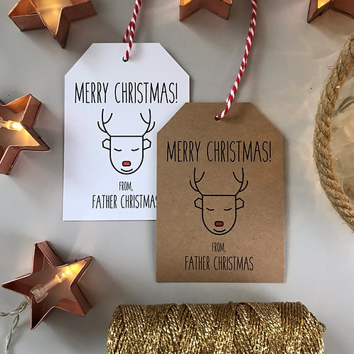 Father Christmas Gift Tags - Reindeer (x10)