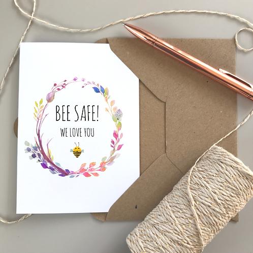 Bee Safe Boho Card - White