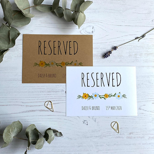 Daisy Wildflower Reserved Sign