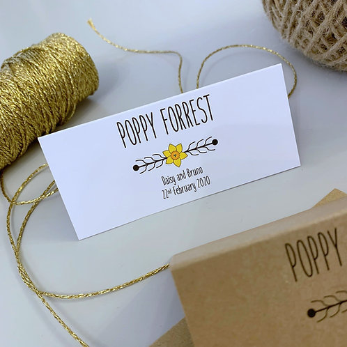 Daffodil Place Name Cards - White