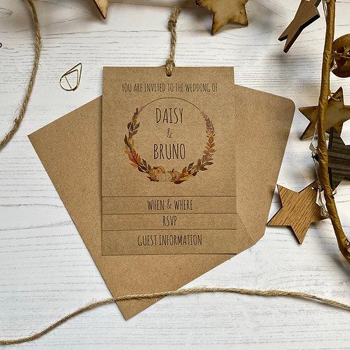 Pumpkin Tiered Wedding Invites - Kraft