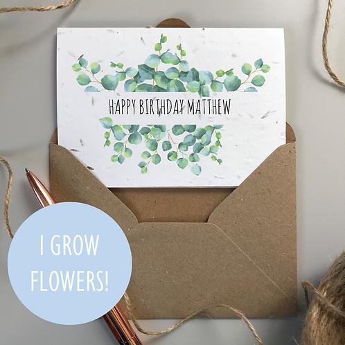Happy Birthday Card Eucalyptus - Seeded Card