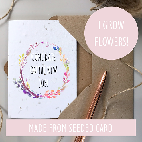 New Job Congratulations Card - Seeded