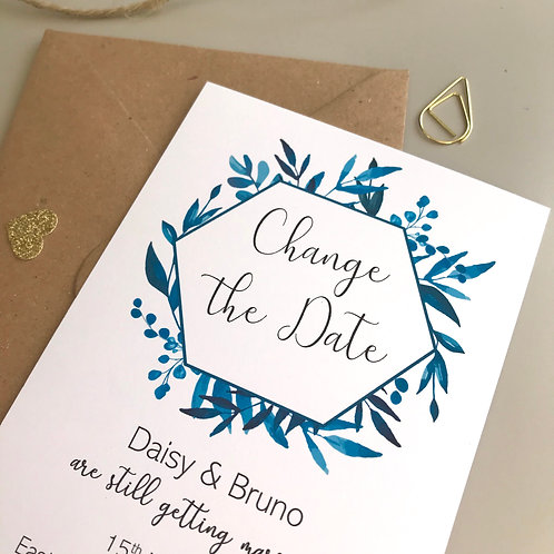 Blue Foliage Change the Date Cards - White