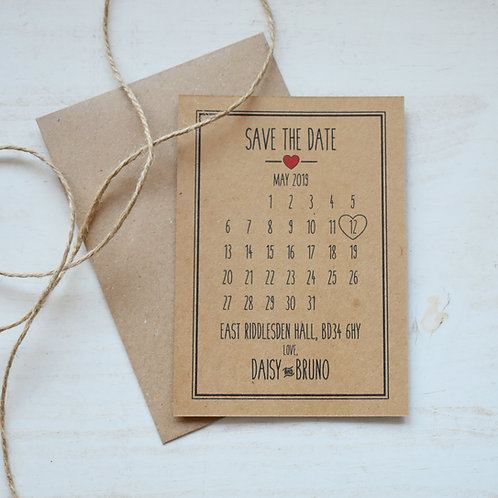 Rustic Heart Save the Date Cards, Kraft