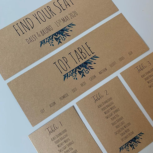 Blue Foliage Individual Table Plan Cards - Kraft