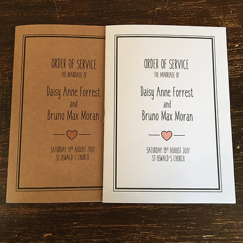 Rustic Heart Order of Service Booklets