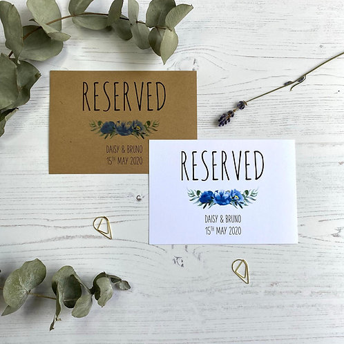 Dusty Blue Reserved Sign