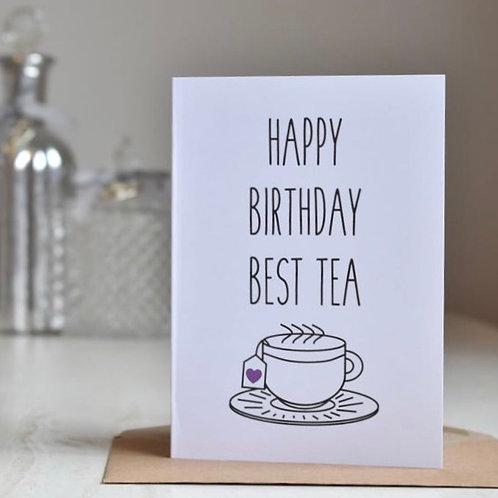Best Friend / Bestie / Best Tea Birthday Card, White