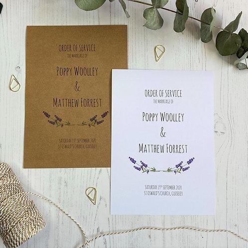 Lavender Order of  Service Booklets