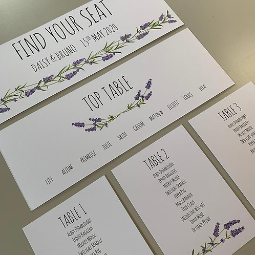 Lavender Individual Table Plan Cards - White