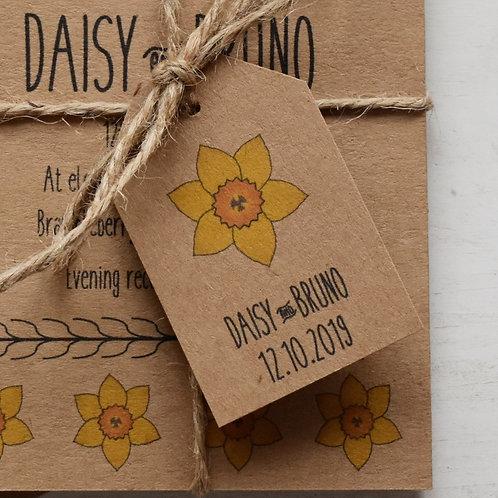 Daffodil Wedding Favour Tags - Kraft