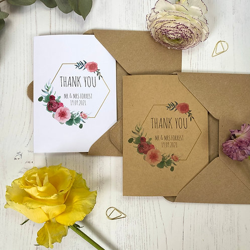 Floral Blush Personalised Wedding Thank you Cards (x10)