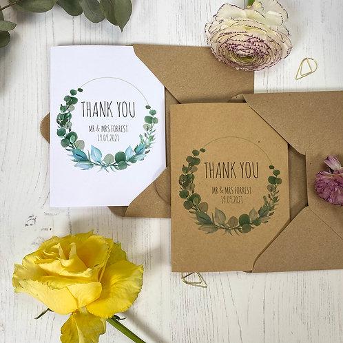 Eucalyptus Personalised Wedding Thank you Cards (x10)