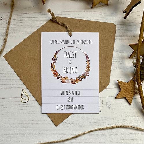 Pumpkin Tiered Wedding Invites - White
