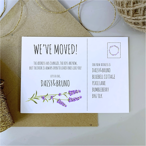 Lavender We've Moved House / New Address Cards - White