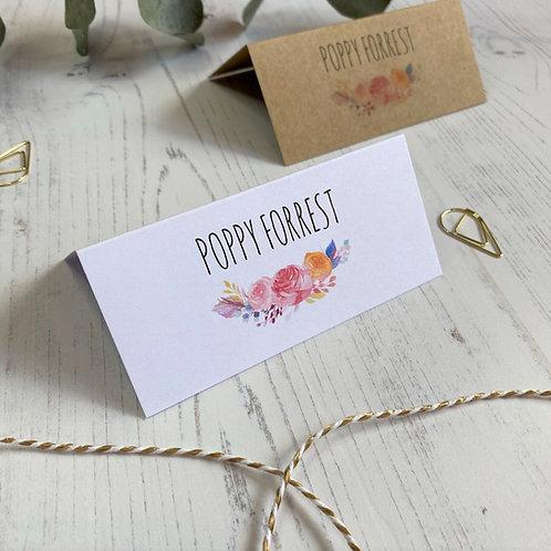 Boho Flower Place Name Cards - White