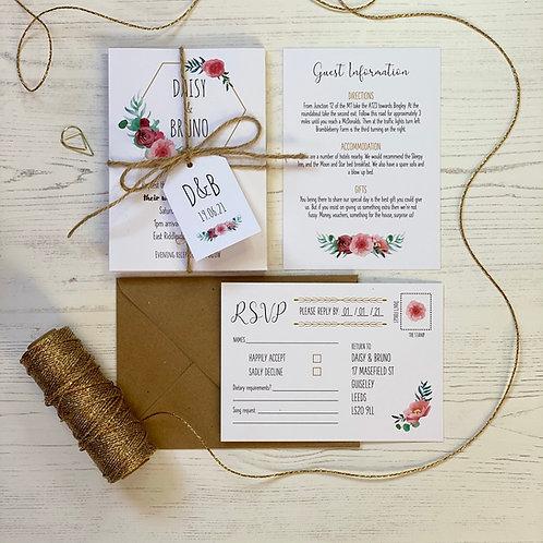 Floral Blush Wedding Invitations - White