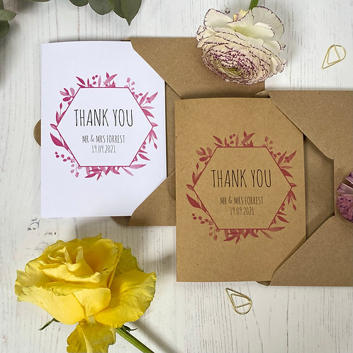 Pink Foliage Personalised Wedding Thank you Cards (x10)