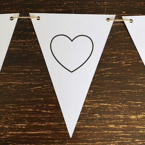 Bunting, Heart outline, White