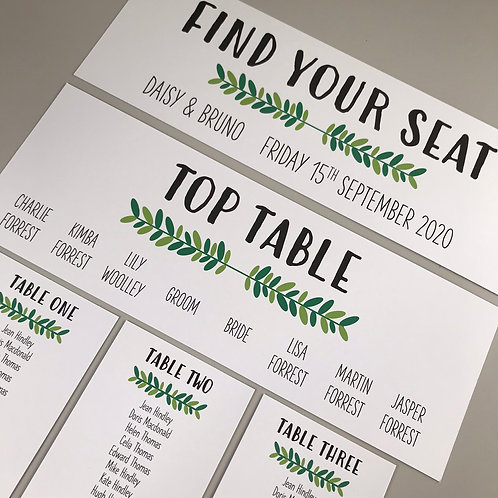 Foliage Individual Table Plan Cards - White