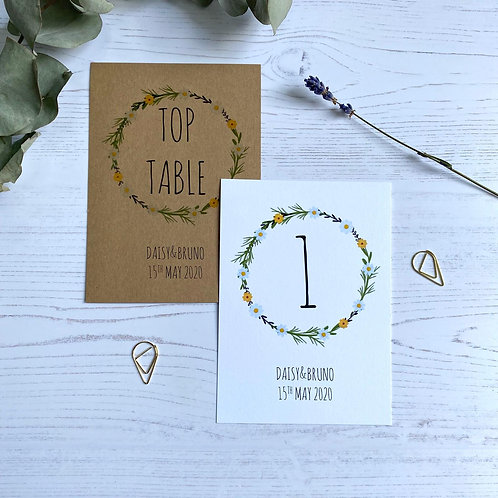 Daisy Wildflower Table Number Sign