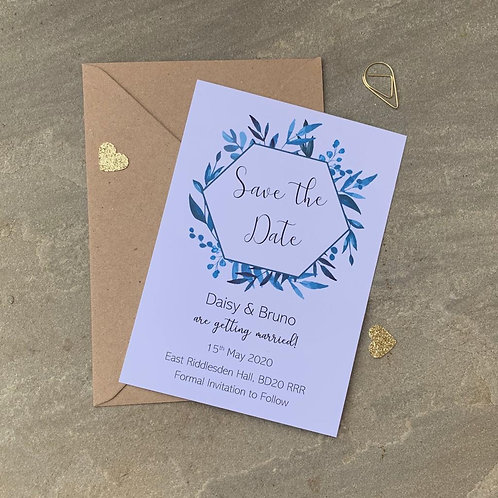 Dusty Blue Foliage Save The Date Cards - White
