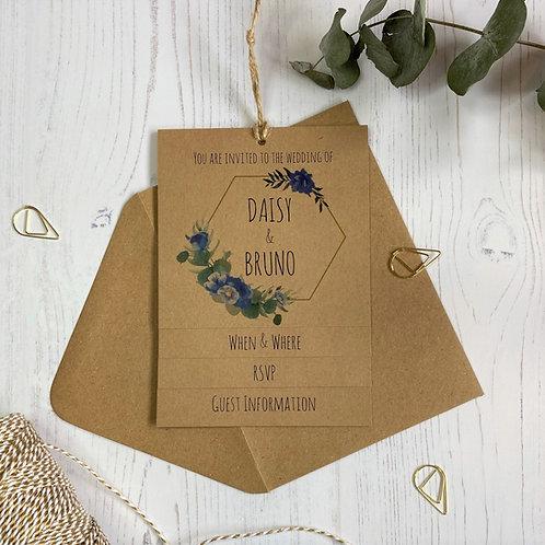 Dusty Blue Tiered Wedding Invites - Kraft
