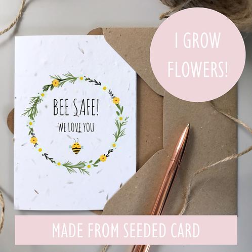 Bee Safe Daisy Card - Seeded
