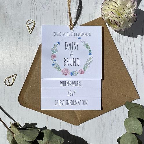 Daisy Cornflower Tiered Wedding Invites -White