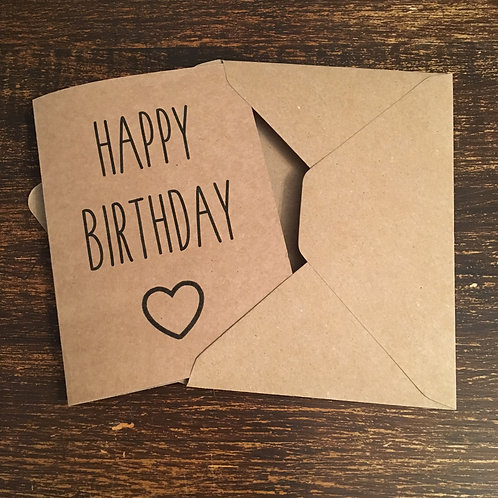 Birthday Card, Happy Birthday, Heart Outline