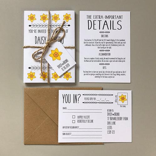 Daffodil Wedding Invitations - White