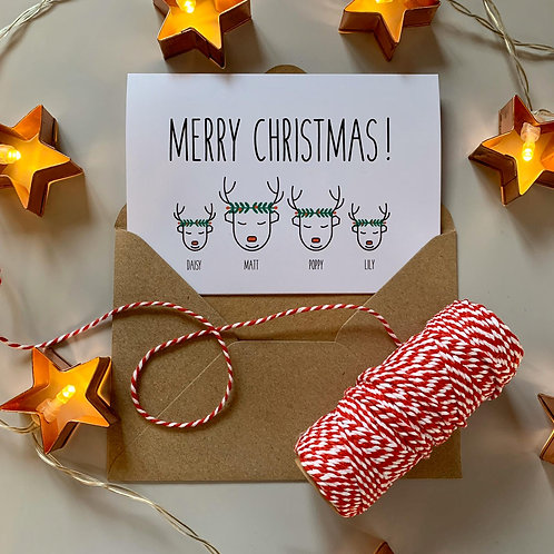 Personalised Reindeer Wreath Family Christmas Cards - White