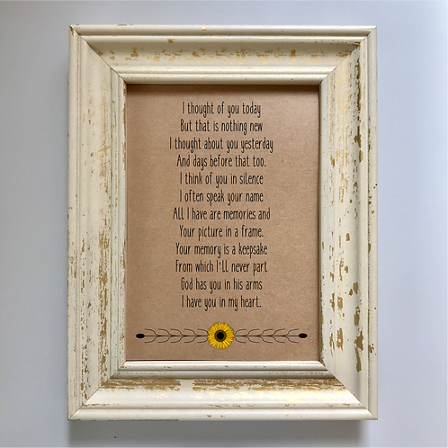 In Memory Wedding Remembrance Sign - Sunflower