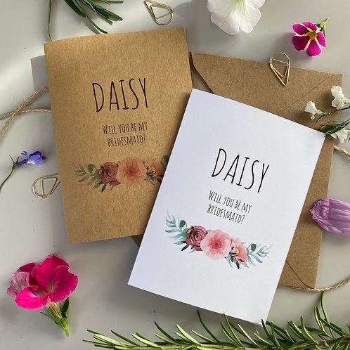 Bridesmaid Proposal Card - Floral Blush