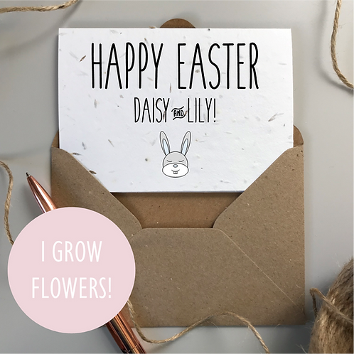 Personalised Happy Easter Rabbit Card - Seeded Card