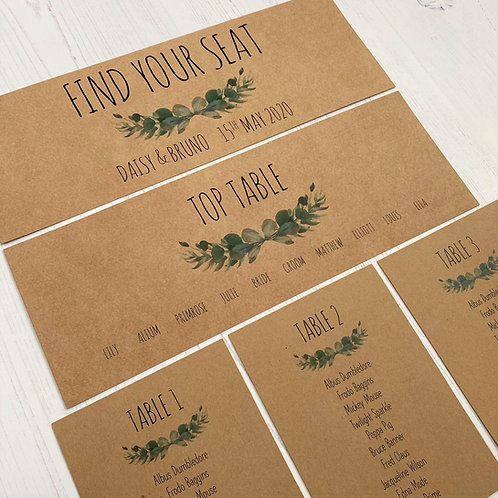 Eucalyptus Individual Table Plan Cards - Kraft