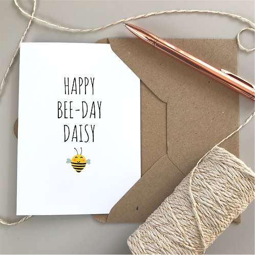 Happy Bee-Day Birthday Card - White