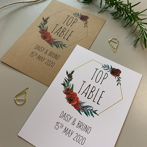Winter Romance Table Number Sign