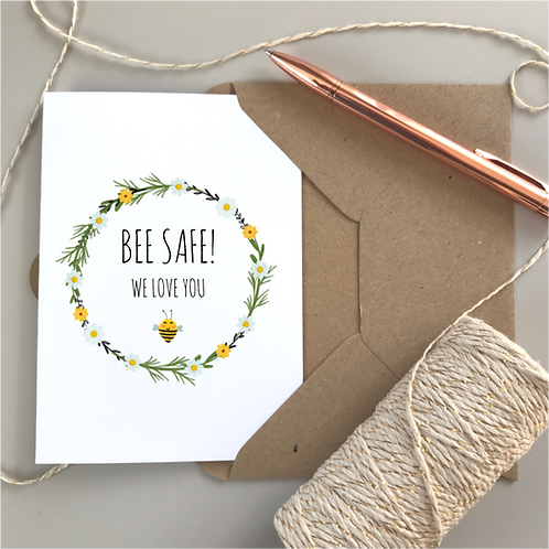 Bee Safe Daisy Card - White