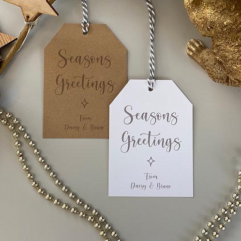 Personalised Seasons Greetings Gift Tags (x10) - Grey
