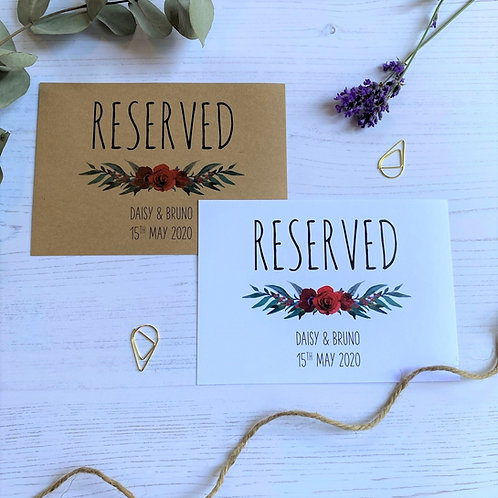 Winter Romance Reserved Sign